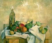 Food And Beverage Paintings - Still Life with Bottle of Liqueur by Paul Cezanne
