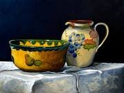 Table Cloth Drawings Metal Prints - Still Life with Bowl and Pitcher Metal Print by John OBrien