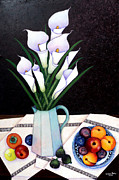 Madalena Lobao-tello Art - Still life with Callas by Madalena Lobao-Tello