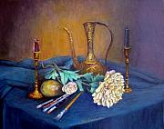 Old Pitcher Prints - Still Life With Candlesticks and Brass Print by Stephen  Hanson