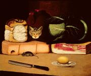 Cabbage Prints - Still Life with Cat and Mouse Print by Anonymous