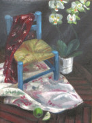 Stitching Paintings - Still life with Chair and Orchids by Peter Allan