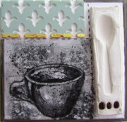 Relief Print Originals - Still Life With Coffee Cup Beans And Spoon by Peter Allan