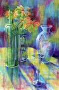 Wine-bottle Paintings - Still Life With Color by Carolyn Coffey Wallace