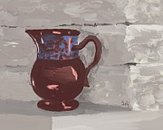 Pottery Pitcher Metal Prints - Still Life with Copper Luster Jug Metal Print by Sarah Countiss