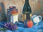 Red Wine Bottle Pastels Prints - Still Life with Crock and Apple Print by Michael Camp