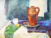 Academic Paintings - Still Life With Cup and Coffeepot  by Irina Sztukowski