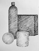 Pen  Drawings - Still Life with Cup Bottle and Shapes by Michelle Calkins