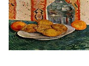 Painter At Work Posters - Still Life with Decanter and Lemons on a Plate Poster by Van Gogh