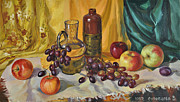 Wine Bottle Paintings - Still life with decanter by Veronika Surovtseva