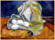 Fabric Mixed Media Framed Prints - Still Life with Eggs Framed Print by Mindy Newman