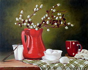Jugs Painting Prints - Still life with eggs Print by Rose Sciberras