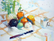 Watercolour Mixed Media Originals - Still life with fennel and clementines by Andre MEHU