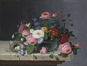 Morning Glories Paintings - Still Life With Flowers and Birds Nest by Severin Roesen
