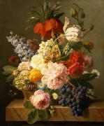 Grape Metal Prints - Still Life with Flowers and Fruit Metal Print by Jan Frans van Dael