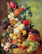 Peach Painting Posters - Still Life with Flowers and Fruit Poster by Jan van Os