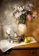 Still Life With Pears Prints - Still Life With Flowers And Pears Print by Jill Battaglia