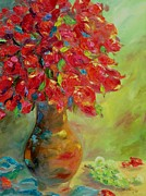 Vase Of Flowers Painting Prints - Still Life with Flowers Print by Chris Brandley