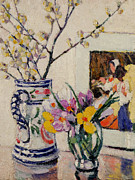 Still Life Paintings - Still life with flowers in a vase   by Rowley Leggett