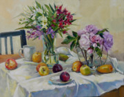 Mango Painting Originals - Still Life With Flowers by Irina Salenko