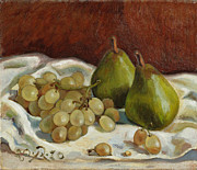 French Pears Prints - Still Life with French Grapes Print by Raimonda Jatkeviciute-Kasparaviciene