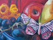 Aleksandra Buha Art - Still life with Fruit and Butterfly by Aleksandra Buha