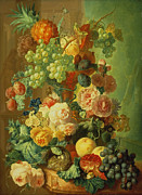 Plum Posters - Still Life with Fruit and Flowers Poster by Jan van Os