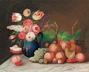 Cherries Paintings - Still life with fruit and flowers by William Buelow Gould