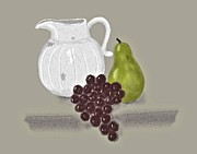 Pottery Pitcher Metal Prints - Still Life with Fruit and White Jug Metal Print by Sarah Countiss