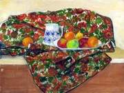Drapery Posters - Still Life with Fruit Poster by Ethel Vrana