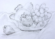 White Grapes Drawings Framed Prints - Still Life with Fruit Framed Print by Jan Bennicoff