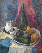 Jug Painting Originals - Still life with fruit by Juliya Zhukova