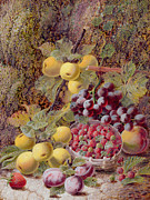 Ground Painting Framed Prints - Still Life with Fruit Framed Print by Oliver Clare