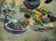 Bowls Paintings - Still Life with Fruit by Paul Gauguin