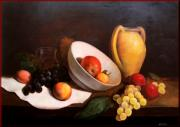 Italian White Poppy Paintings - Still life with fruits by Salvatore Testa
