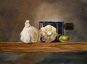 Old Wall Painting Prints - Still Life With Garlic and Olive Print by Irina Sztukowski