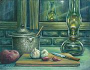 Oil Lamp Originals - Still Life With Garlic by Colleen  Maas-Pastore