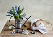Culinary Mixed Media Metal Prints - Still Life with grape hyacinths Metal Print by Nailia Schwarz