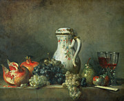 White And Green Framed Prints - Still Life with Grapes and Pomegranates Framed Print by Jean-Baptiste Simeon Chardin