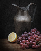 Lemon Pyrography Metal Prints - Still Life with Grapes Metal Print by Krasimir Tolev