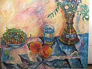 Peaches Originals - Still-life with grapes by Natalia Slovinskaya