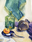 Academic Paintings - Still Life With Green Bottle by Irina Sztukowski