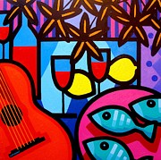 Wine Canvas Paintings - Still Life With Guitar And Fish by John  Nolan