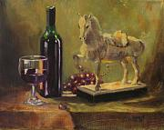 Wine Bottle Paintings - Still Life with Horse by Laura Lee Zanghetti