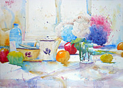 Bouquet Paintings - Still Life with Hydrangeas by Andre MEHU
