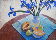 Watermelon Drawings Prints - Still Life with Irises. Print by Ekaterina Gomol