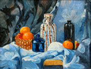 Drapery Prints - Still Life with Jugs and Oranges Print by Ethel Vrana