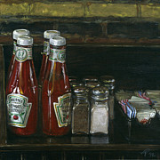 Ketchup Paintings - Still Life With Ketchup by Ted Papoulas