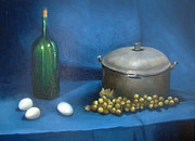 Naturalistic Posters - Still Life With Kettle Grapes and Wine Poster by Stephen  Hanson