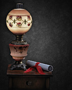 Oil Lamp Pyrography Prints - Still Life with Lamp Print by Krasimir Tolev